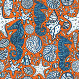 pattern with sea-horses and shells