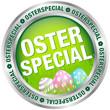 """Button """"Osterspecial"""" Ostereier grün/silber/pastell"""
