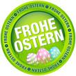 """Button """"Frohe Ostern"""" Ostereier grün/pastell"""