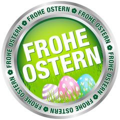 """Button """"Frohe Ostern"""" Ostereier grün/silber/pastell"""
