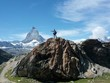 hiker on Matterhorn Mountain in Switzerland