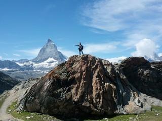 hiker on Matterhorn Mountain in Switzerland