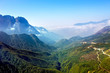 Landscape with mountain, clouds, and blue sky in Sapa, Vietnam