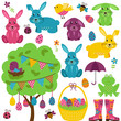 Vector Collection of Easter Bunnies with Tree, Eggs and Basket