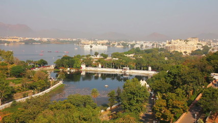 view from funicular on lake and palaces in Udaipur India