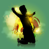 soccer player goal colorful background