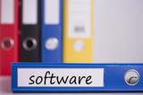 Software on blue business binder