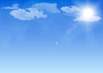 Blue sky, sun and clouds realistic vector