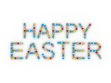 3d inscription of Happy Easter eggs on a white background
