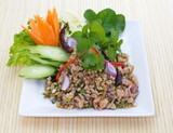 thai food spicy minced chicken salad and fresh vegetables