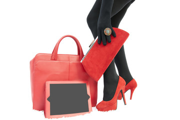 Woman red accessories