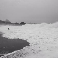 Strong wave on copacabana beach, Rio de Janeiro, Brazil
