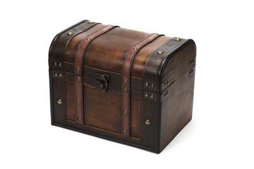白背景に木製の宝箱