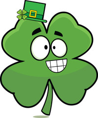 Lucky Four Leaf Clover Cartoon