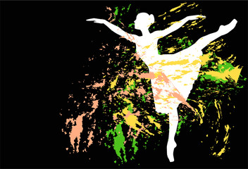 silhouette di ballerina e spruzzi di colore