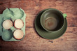 Egg shells and empty cup