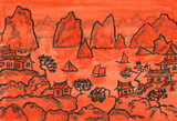 China landscape in orange colour, painting