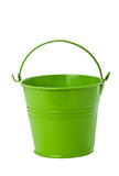 Green tin bucket on white background.
