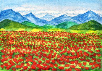 Red poppies meadow, painting