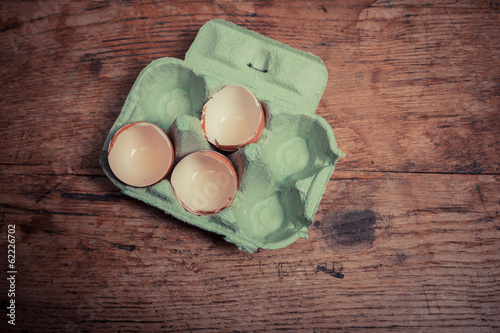 Egg shells on table