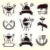 Grill elements set. Vector