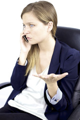 Business woman worried on the phone