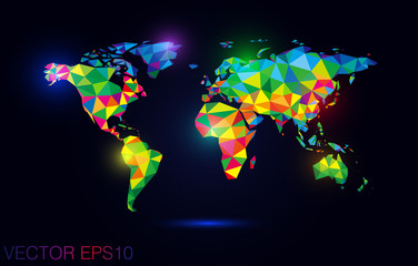 colorful  map abstract isolated on a black backgrounds
