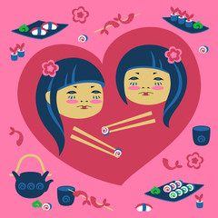 Illustration of two japanese girl