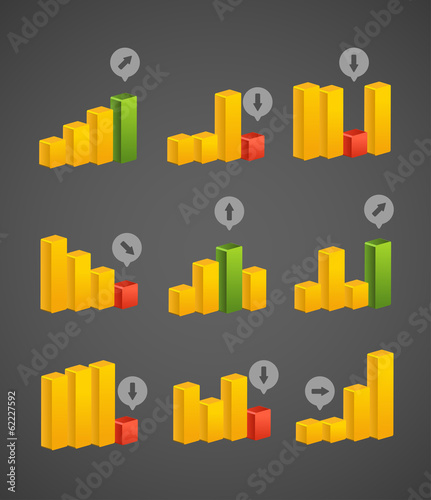 Different charts collection . Vector template
