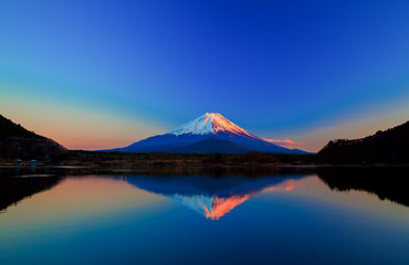 Inverted image of Mount Fuji at sunrise