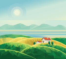 Landscape with hut.