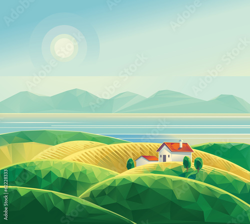 Landscape with hut.