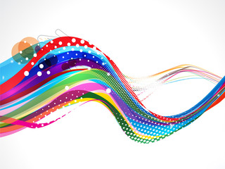 Colorful Wave Background With Grunge
