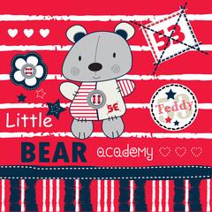 teddy bear academy background vector illustration