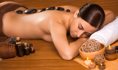 beautiful brunette in a massage parlor