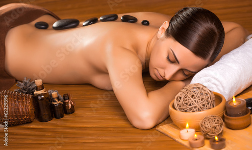 beautiful brunette in a massage parlor
