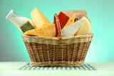 Basket with tasty dairy products on blue background