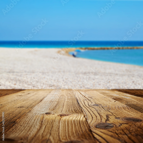 canvas print picture Empty beach . view from wood terrace