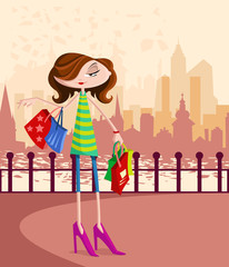 Stylish girl with shopping bag