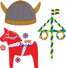 Swedish icons on white background
