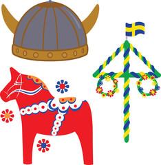 Swedish icons on white background