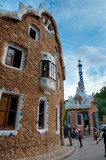 Big and little ginger house in Park Guell at Barcelona