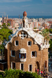 Big ginger house in Park Guell and Barcelona city