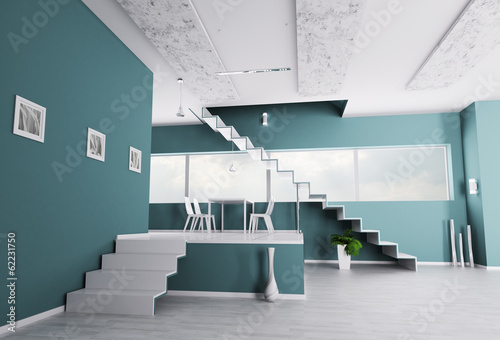 Interior of apartment with staircase