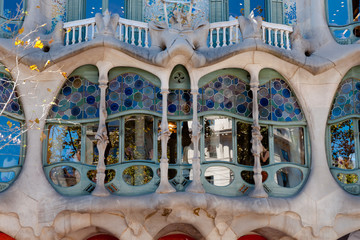 Casa Batllo fachade main window at Barcelona