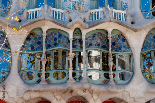 Casa Batllo fachade main window at Barcelona