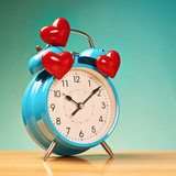 Alarm clock with three hearts over