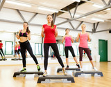 group of smiling female doing aerobics