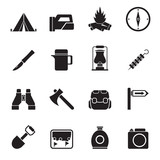 Silhouette tourism and hiking icons - vector icon set