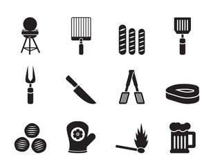 Silhouette picnic, barbecue and grill icons